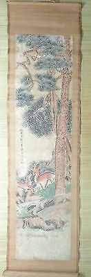 G3:stunning art chinese old scroll 100% handpainted painting-deer ,landscape