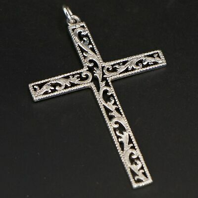 VTG Sterling Silver WADES SILVERSHOP Etched Filigree Cross Religious Pendant 6g
