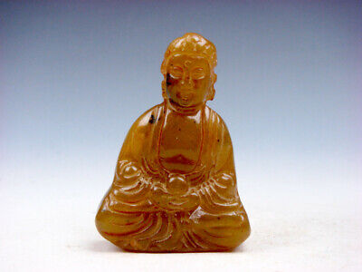 Old Nephrite Jade Stone Carved Sculpture Shakyamuni Buddha Praying #11301909