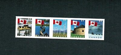 2005  STRIP OF 5 MINT  CANADA STAMPS  # 2139a  FLAG BOOKLET  FV20