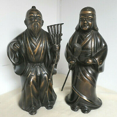 Pair Antique BRONZE JAPANESE TAKASAGO OKIMONO FARMERS ELDERS Statues SIGNED #113