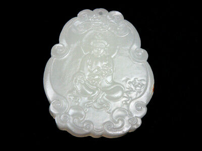 White Jade Pendant *Kwan-Yin Buddha Holds Ru-Yi* Hand Carved In Relief #01122002