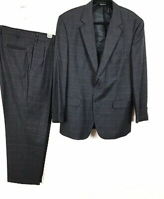 44R Jos A Bank 2 Buttons Wool Suit Navy Blue Window Pane Pants Pleated Cuffed