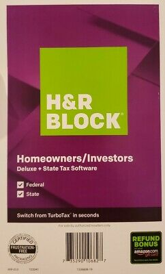 H&R Block Homeowners/Investors Deluxe+State Tac Software 2019 Federal & State