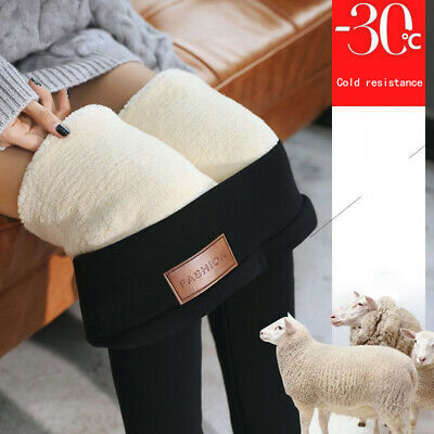 Women Thermals Thick Warm Fleece Lined Winter Stretchy Pencil Leggings Pants AU