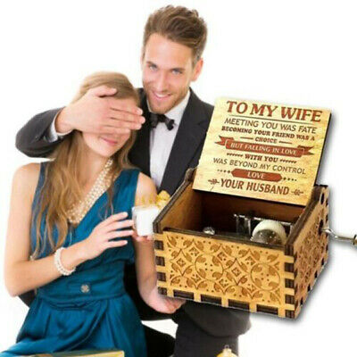 Wooden Music Box To My Wife -You Are My Sunshine-Engraved Toys Best Gifts New AU
