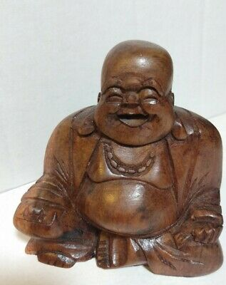 Hand-carved Asian Chinese Wood Carving Laughing Buddha Statue Vintage Excellent!