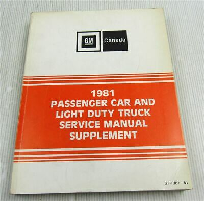 Service Manual 1981 Supplement Chevrolet Oldsmobile GM Canada