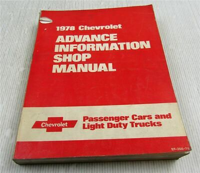Chevrolet Malibu Monte Carlo Nova Camaro 1978 Advance Information Shop Manual