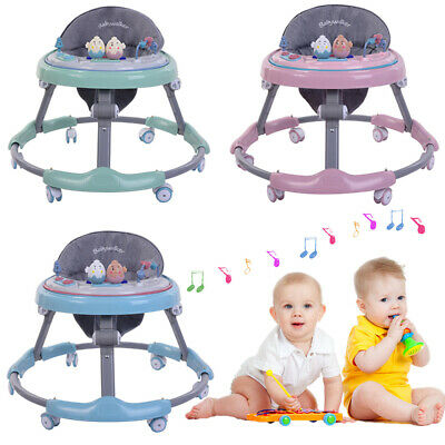 Cute Baby Walker Toddlers First Steps Push Along Bouncer Activity Music Toy Tray
