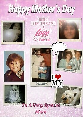 Personalised Collage Mother's Day Card, Mum/Mam/Mummy/Stepmum/Gran+ your photos