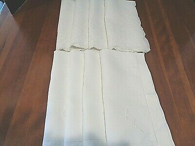 Collection of 8 Large Antique napkins 2 sets of 4 matching initial F