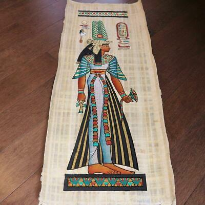 "Huge Signed Handmade Papyrus Egyptian Queen_CLEOPATRA_32x12"" Inches"