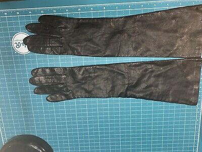 ::ESTATE SALE: Black Kid Leather Elbow Length Lined Leather Gloves NOS Italy