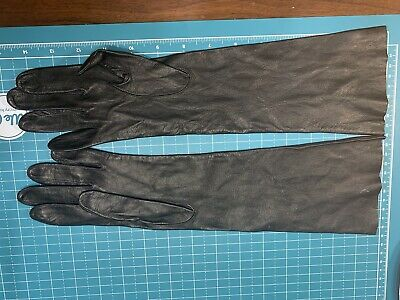 ::ESTATE SALE: Black Kid Leather Elbow Length Unlined Leather Gloves NOS Italy