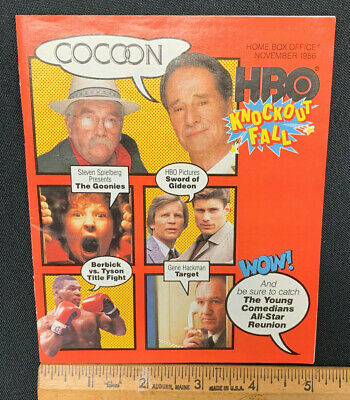 1986 November *Cocoon/The Goonies* Hbo Home Box Office Movie Guide Booklet (As)