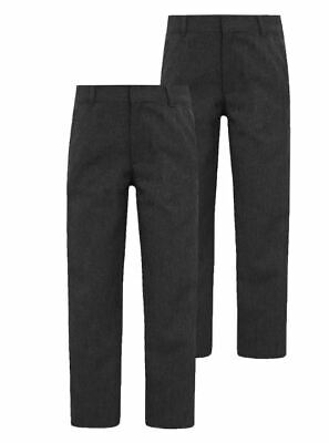 NEW BOYS EX STORE GREY ELASTICATED WAIST REGULAR SCHOOL TROUSERS Age 5-15 yrs T6