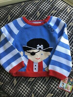 Zubels Cotton Knit Pirate Graphic Sweater 18 Mos (NWT)