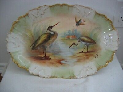 Antique LS & S LIMOGES Large Heavy Platter Hand Painted Water Birds Signed