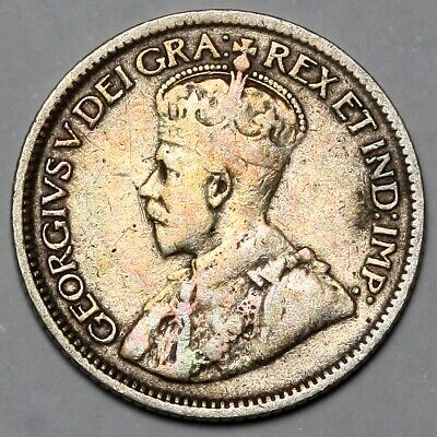 1918 King George V Canada Silver 10 Ten Cents Coin