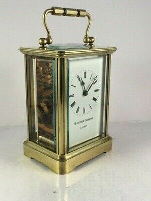 Antique carriage clock case with modern Swiss clockwork movement. Key. GWO.