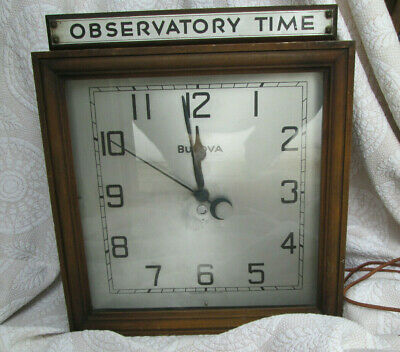 "Antique Bulova ST-1 Industrial ""Observatory Time"" Wall Gallery Electric Clock"