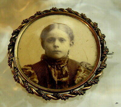 Antique Celluloid Child Young Girl Mourning? Photo Portrait Pin Brooch C Clasp!