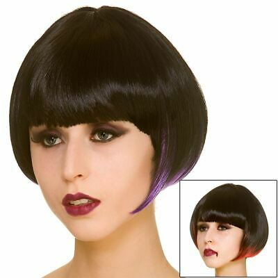 Fancy Dress Wig Bob Style Short Black Hair Ladies Halloween Accessory Purple Red