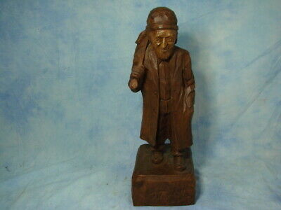 Vintage Gaston Turcotte Treen Wood Carving Of Old Man