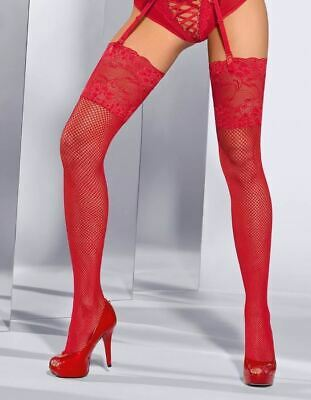 Axami Seduce Me Stockings Thigh Highs 5214 Red Hold-Ups Fishnet Lace Top