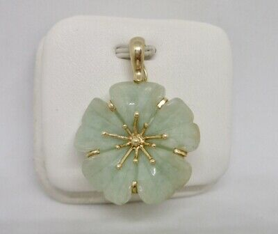 Chinese 14K Yellow Gold Carved Jade Flower Necklace Enhancer Pendant