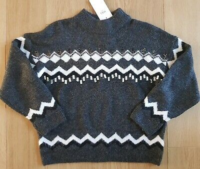 BNWT Girl M&S - Snuggly Embellished KNITTED Grey White JUMPER Size 12-13 years
