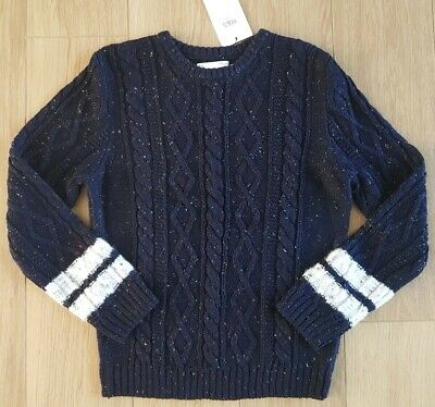 BNWT Girl M&S - Snuggly Cable Knitted JUMPER Navy MULTI SPECK Size 9-10 years