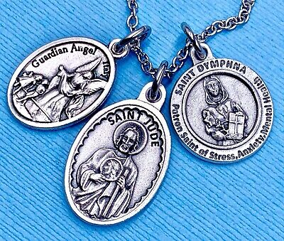 Stress Anxiety St Dymphna Necklace St Jude Medal Guardian Angel Medal