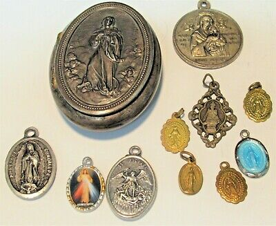 Vintage Holy Medal Container Oval Shape Catholic Mother Mary With Medals Vg Cond