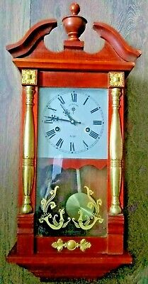 Small Vienna Type 31 day Wall Clock Clean & Working Well!