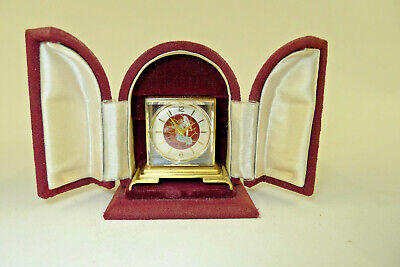 Antique/Vintage ENAMEL DIAL CRYSTAL miniature carriage/boudoir clock, boxed