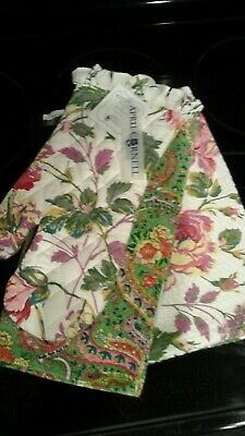 April Cornell 3 Kitchen Set Tea Towel Oven Mitt Paisley Peoney green pinks multi