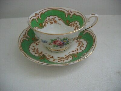 Vintage TUSCAN Cup & Saucer Green Gold Pattern Pink Blue Flowers Gold Rim 2 of12