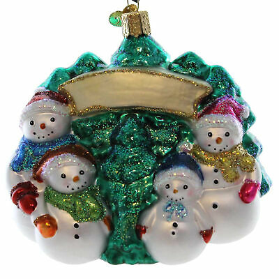 "X Old World Christmas Ornament w// OWC Box Snowman 24150 /""Snow Family Banner/"""