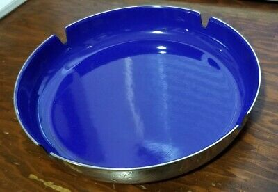 "1960s Mid-Century Modern LEIF WESSMANN Norway Blue Enamel 6.5"" Ashtray MCM"