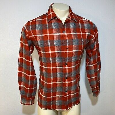 Vtg 50s 60s 100% WOOL Button Shirt RED PLAID Cruiser Loop Collar Mens LARGE