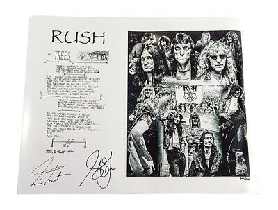 Rush The Trees Plate Signed Print 11x14 #'d /500 Neil Peart Geddy Lee Auto