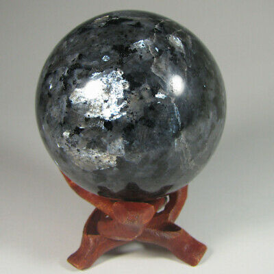 "2.3"" Blue Pearl LARVIKITE Labradorescent Sphere Ball w/ Stand - India - 60mm"