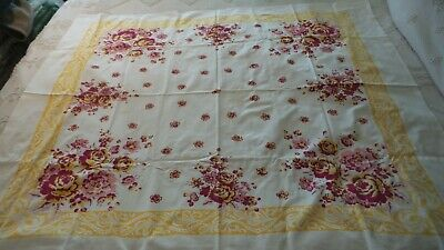 "Vintage Cotton Print TABLECLOTH DARK RED, YELLOW, PINK FLORAL 52""x42"""