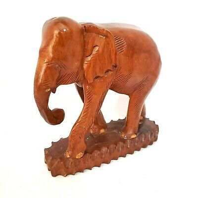 Large Teak Wood Elephant Sculpture Vintage