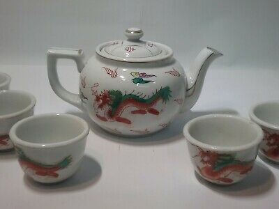 #19c state Chinese Qing dynasty porcelain dragon painting tea cup set blue white