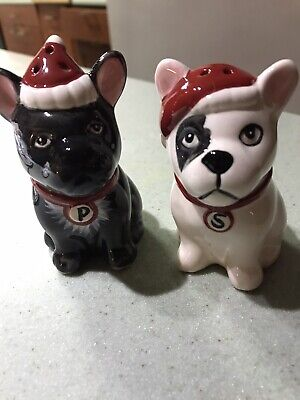 French Bulldog Cute Holiday Salt And Pepper Shakers. Black &White