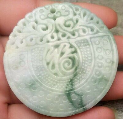 Certified Light Green Natural A Jade Jadeite Carved Blessing Dragon Pendant