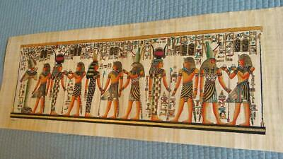 "Huge Signed Handmade Papyrus Egyptian Kings Museum Art Painting...32""x12"" Inches"